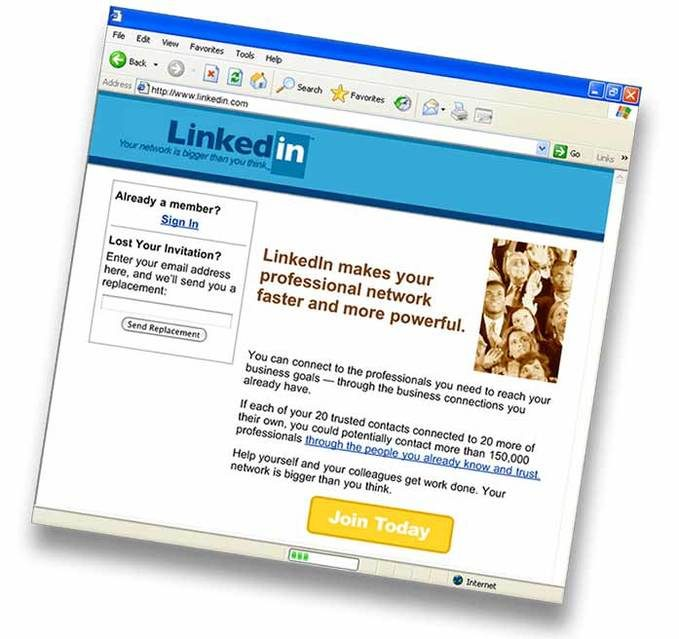 linkedin homepage nell'anno dalla sua uscita
