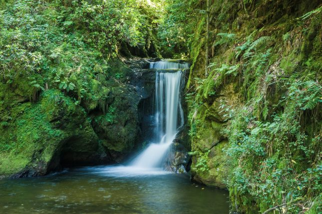 De waterval van de Geroldsauer in Geroldsau in het Zwarte Woud