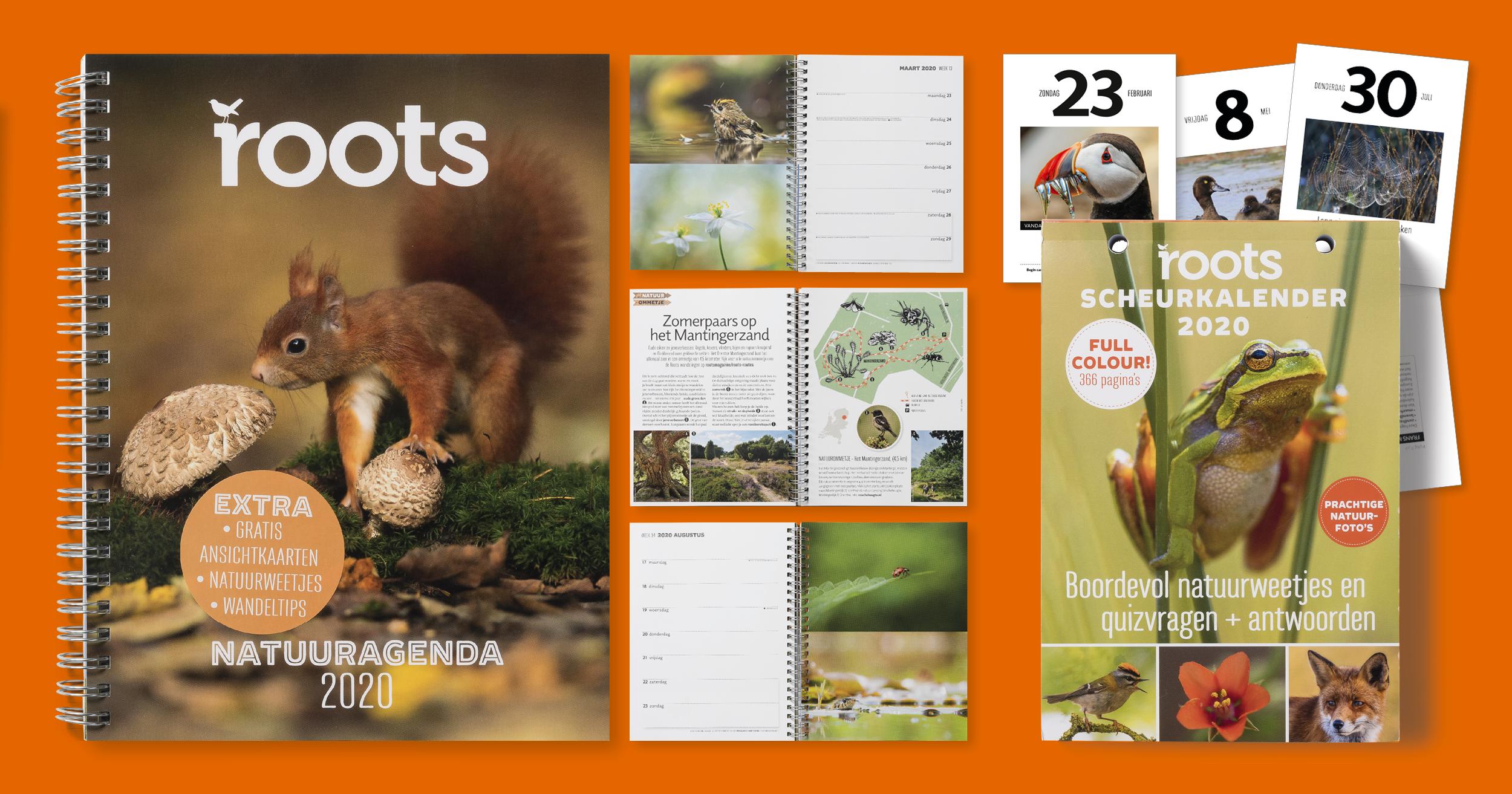 50% korting op de Roots Natuuragenda en Scheurkalender 2020