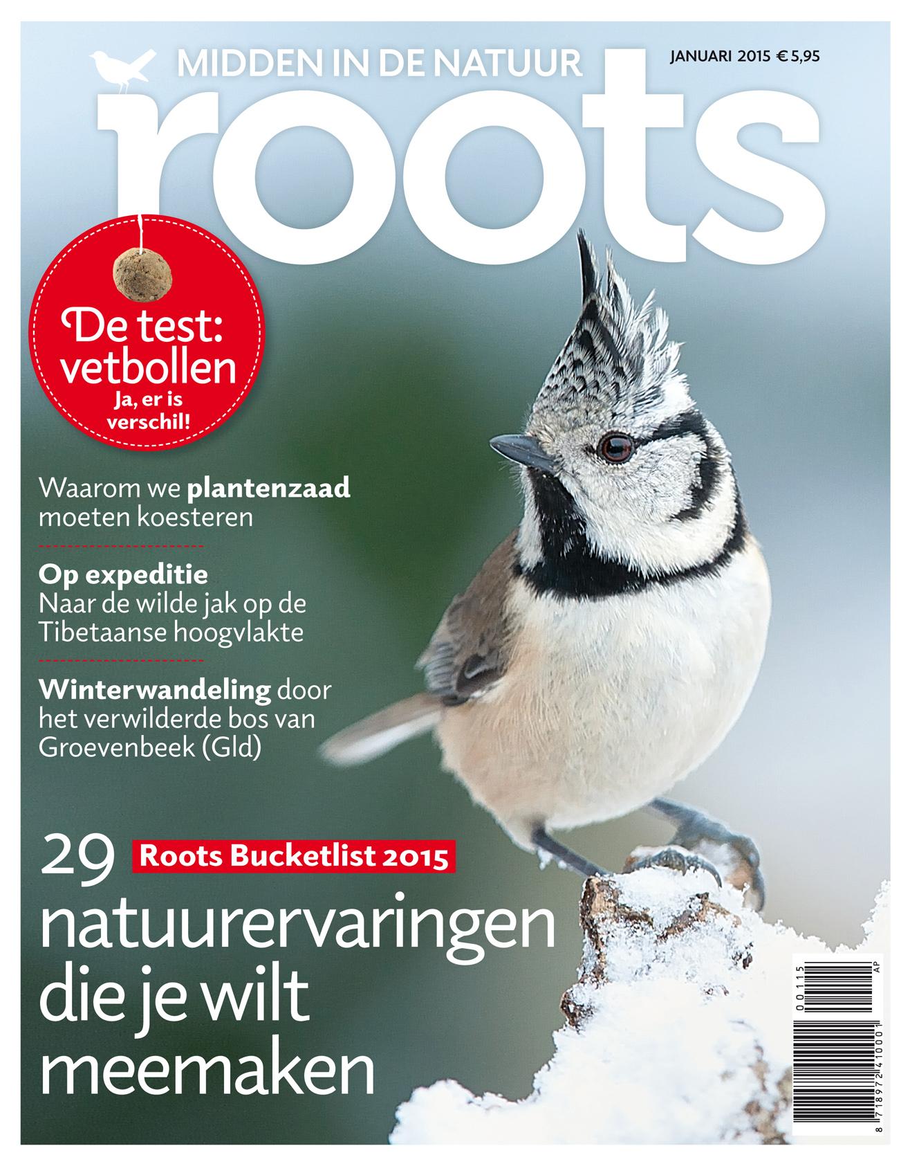 De Rootscover van december. Een kek vogeltje dat communiceert.