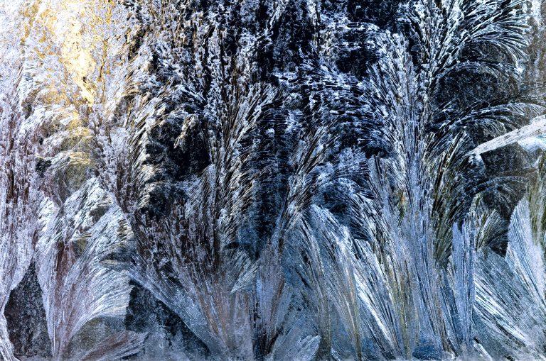 Een winters miniatuurlandschap van ijsbloemen