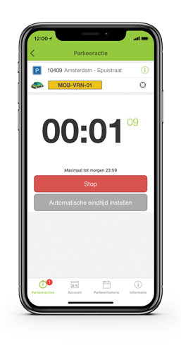 Start parkeerapp transactie mobiel Parkmobile
