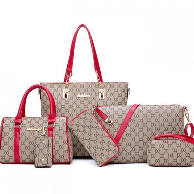 38f473679 مجموعة حقائب نسائية ستة قطع لون أحمر وبني - قصر الكماليات