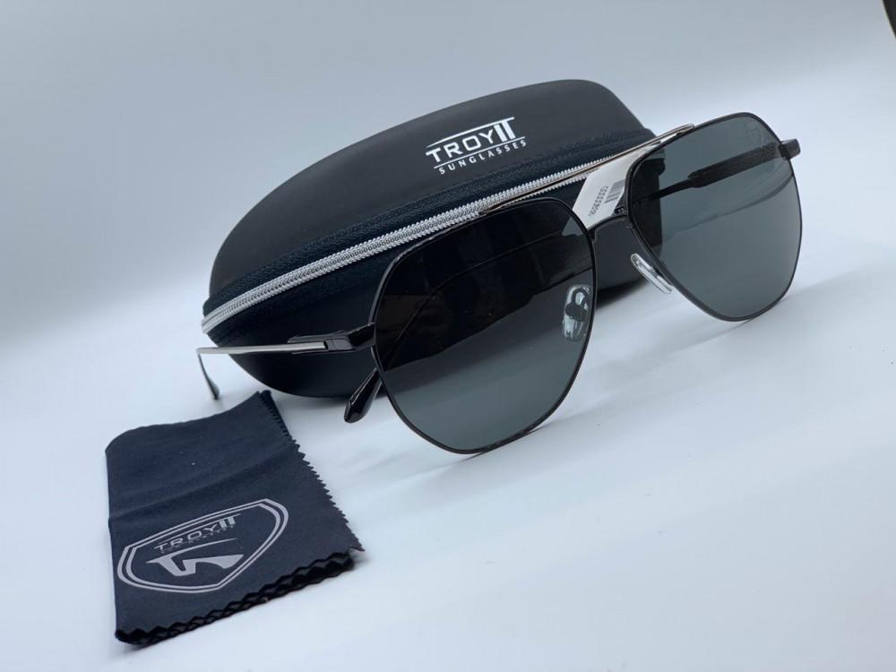 تروي Troy نظارات شمسية رجالي - حريمي لون أسود و فضي طراز wx2158