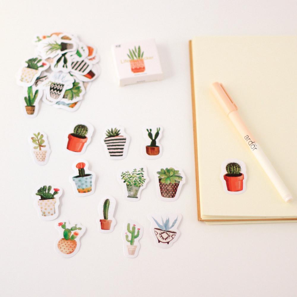 ستيكرات نباتات وأزهار مختلفة الأشكال مناسبة كولاج أجندة اللابتوب