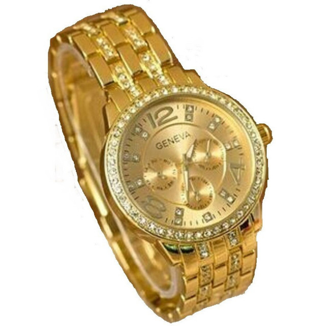 55ef84bd1657f ساعة يد جينيفا لون ذهبي اصفر - قصر الكماليات