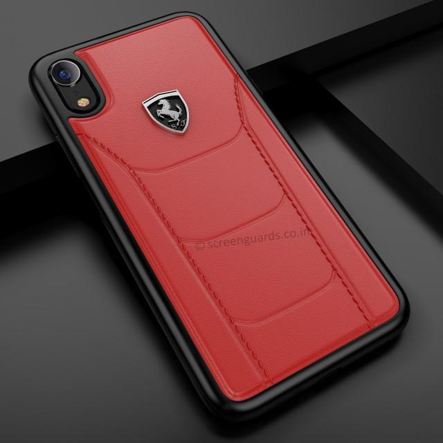c046ccdd2 Ferrari Heritage 488 Genuine Leather Hard Case ايفون اكس ار - احمر - يونيك  زون | Unique Zone