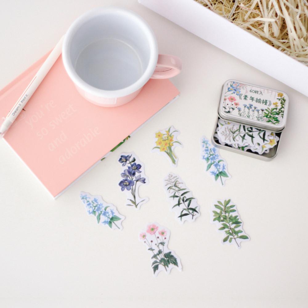 ستيكرات نباتات ستيكر أجندة لابتوب اللواكر ورق لاصق نباتات أزهار