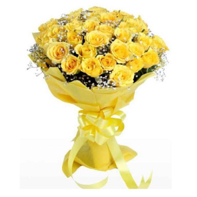 باقة ورد جوري أصفر طبيعي ليتل روز Little Rose