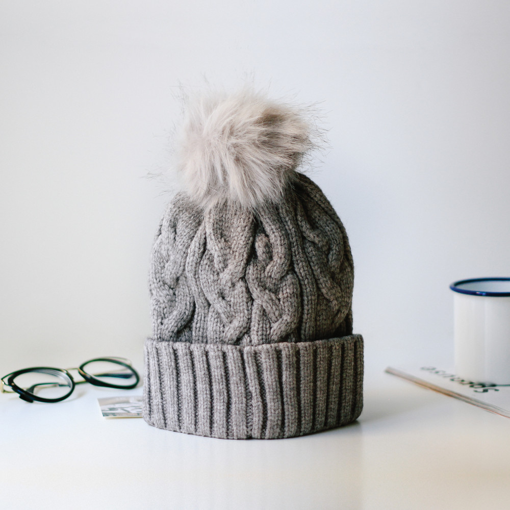 قبعة صوف رمادي قبعة صوف أطفال نسائي رجالي ملابس شتوية