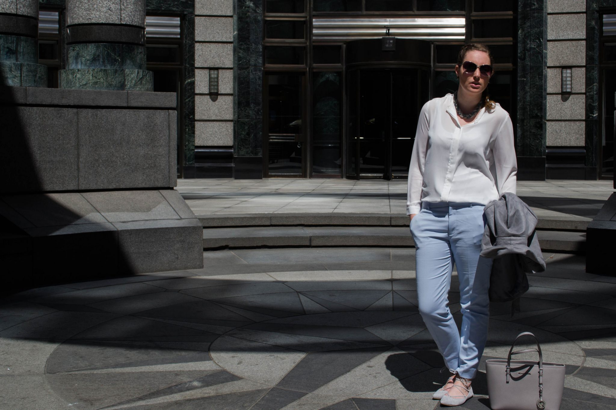 Outfit: Blue Chinos // Lace-Up Ballerinas | New York - Laced up ballerinas 5