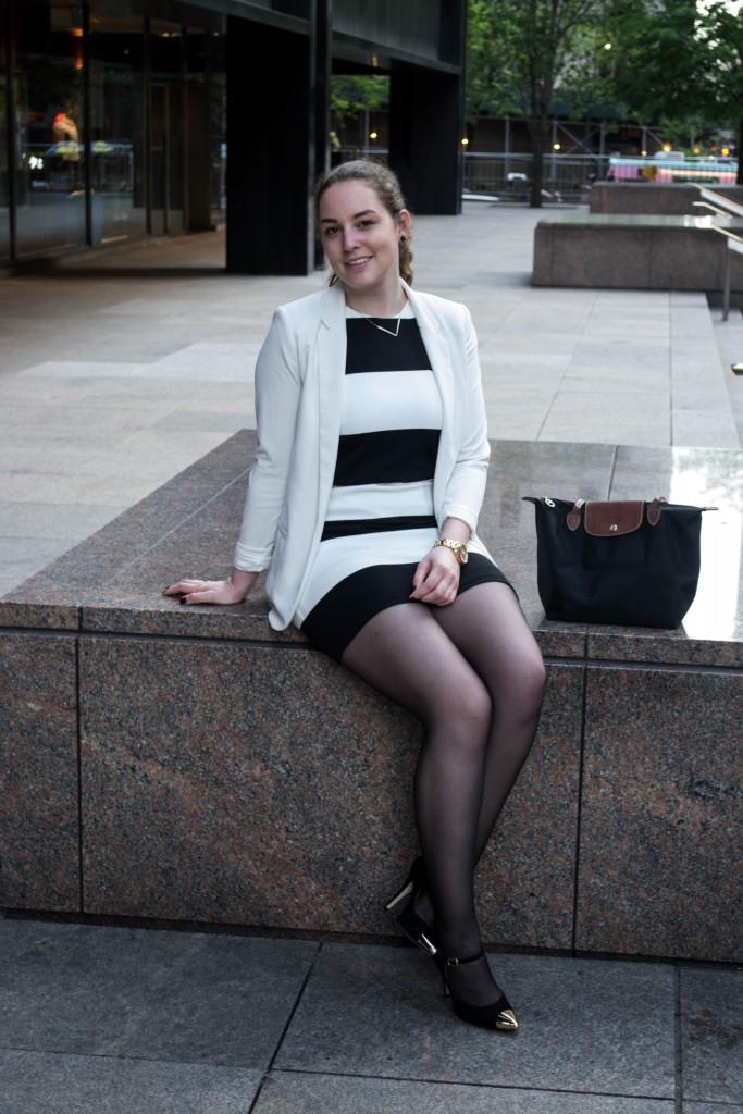 Outfit: Black & White Dress // Metal Toe Cap Heels - Gestreiftes Kleid 8 683x1024