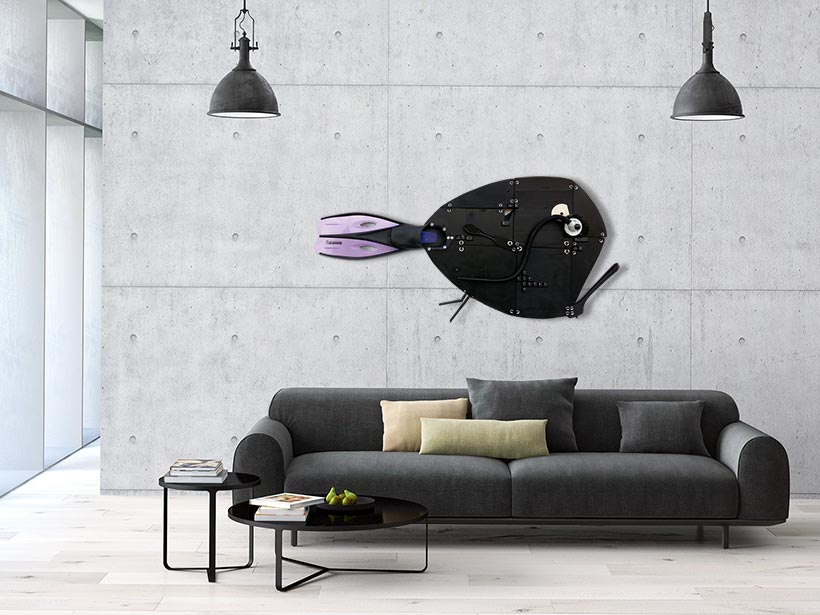 Scuba Black wall sculpture in a livingroom