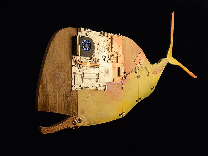 Cyber Whale Wall Sculture, Scultura da appendere, da parete
