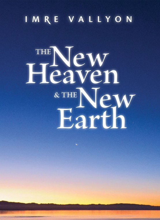Book Cover The New Heaven and the New Earth. Land silhouetted behind orange ocean reflecting sunset merging in to dark blue sky with crescent moon