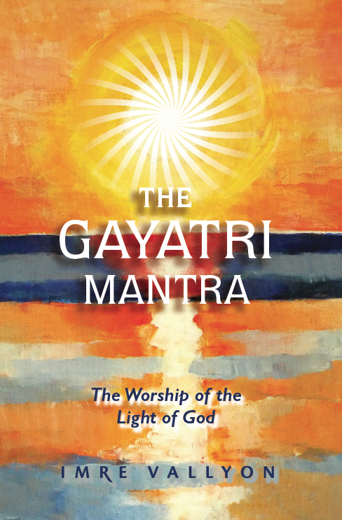 Book Cover The Gayatri Mantra. Artistic painting of the sun in orange sky reflecting in dark blue ocean