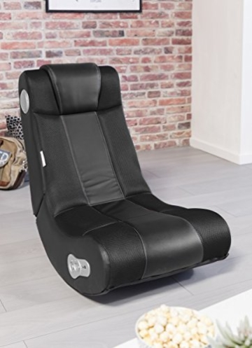WOHNLING® Soundchair InGamer in Schwarz mit Bluetooth | Musiksessel mit eingebauten Lautsprechern | Multimediasessel für Gamer | 2.1 Soundsystem - Subwoofer | Music Gaming Sessel Rocker Chair - 5