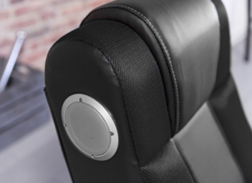 WOHNLING® Soundchair InGamer in Schwarz mit Bluetooth | Musiksessel mit eingebauten Lautsprechern | Multimediasessel für Gamer | 2.1 Soundsystem - Subwoofer | Music Gaming Sessel Rocker Chair - 6