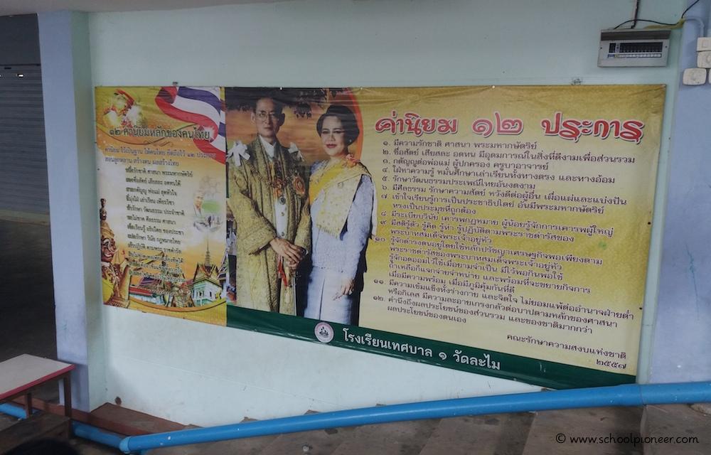 königliche-Porträts-Thailand-Grundschule-Schulgelände