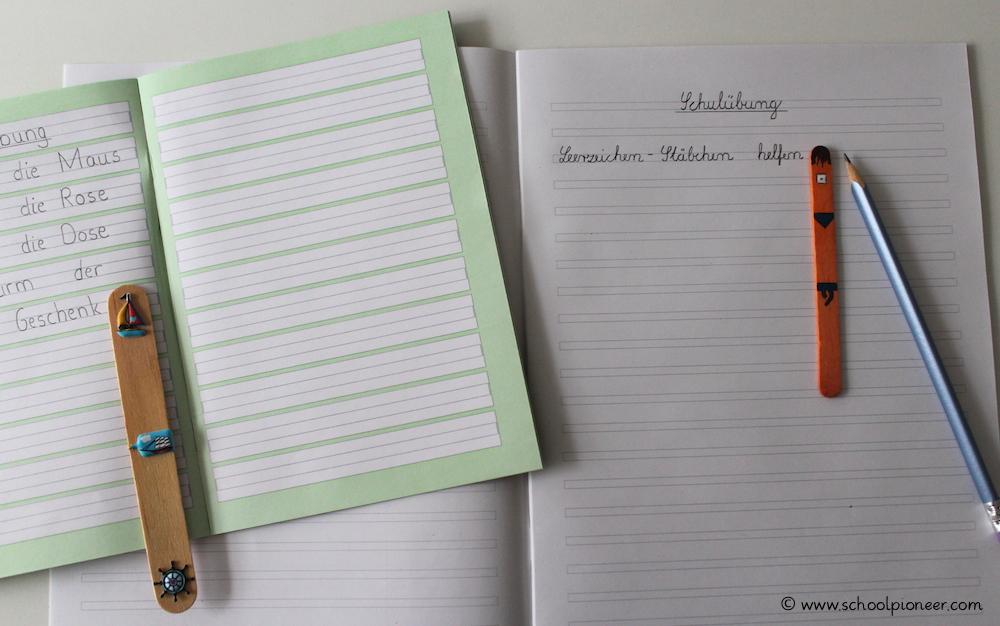 Leerzeichen-Stäbchen-verschiedene-Größen-verschiedene-Lineatur-Wortabstände-einhalten-Schreiben-Grundschule
