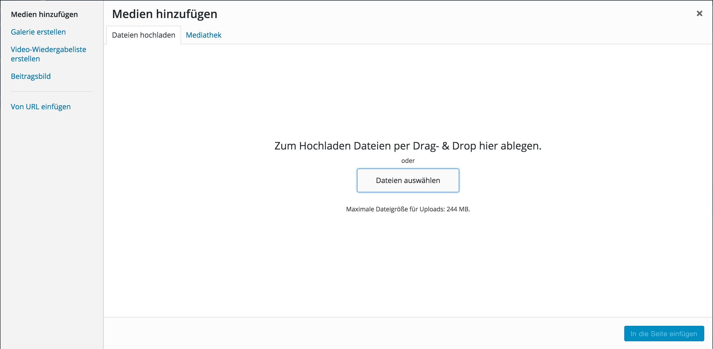 Bequemer Upload aller Dateien und Videos über das Dashboard