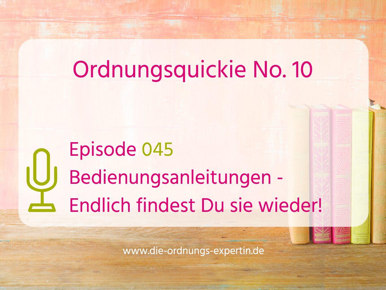 045 – Ordnungsquickie No. 10