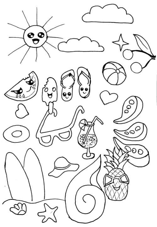 Doodle Sommerzeit Strand Urlaub