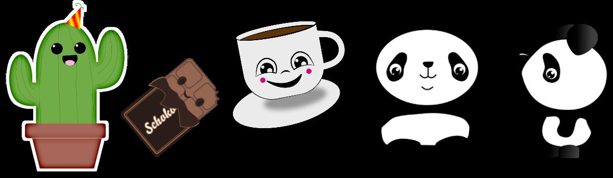Kawaii Doodle Kaktus Tasse Panda Schokolade