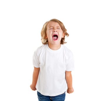 children kid screaming expression on white