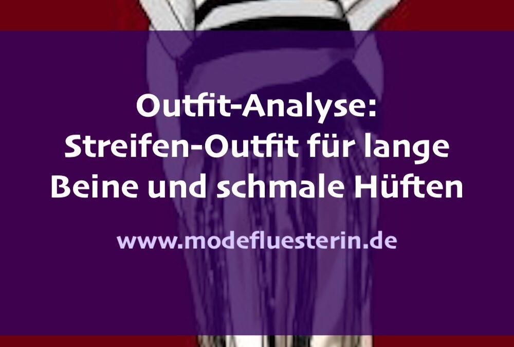 Outfit-Analyse: Streifen-Outfit für lange Beine und schmale Hüften