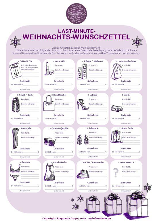 Mit dem Last-Minute-Weihnachts-Wunschzettel der Modeflüsterin macht Schenken zum Fest wieder Freude. Einfach Dokument kostenlos downloaden, ausdrucken und ausfüllen.