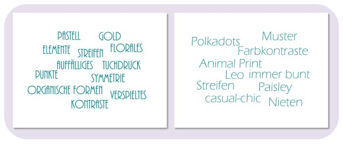 Da Stefanies Mood Board nur Mode-Fotos umfasste, ist die Interpretation der Pinnwand und deren modische Übersetzung fast identisch.