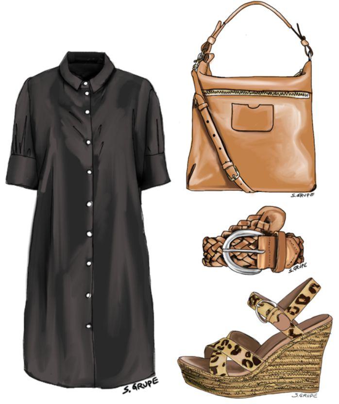 Wenn Sie Ihr Blusenkleid mit einem braunen Flechtgürtel, Leo-Wedges aus Bast und einer Hobo-Bag stylen, erhalten Sie sofort den trendy Boho-Style.