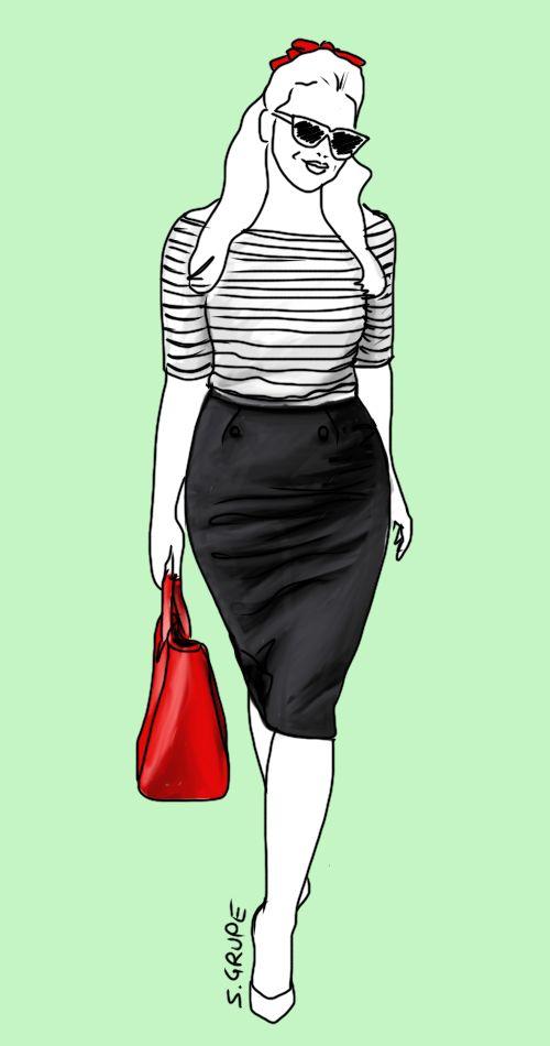 Ein Rock für jeden Figurtyp: Ein Bleistiftrock akzentuiert die Taillen-Hüft-Kurve und wohl geformte Beine. Modeflüsterin - Mode, Stil und Wellness für starke Frauen.