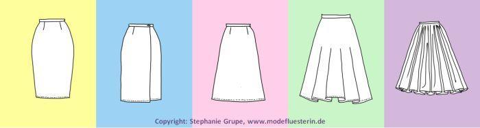 Typische Rock-Silhouetten: Von links nach rechts steigt das Volumen an Taille, Hüfte und Saum an. Mödeflüsterin - Mode, Stil und Wellness für starke Frauen.