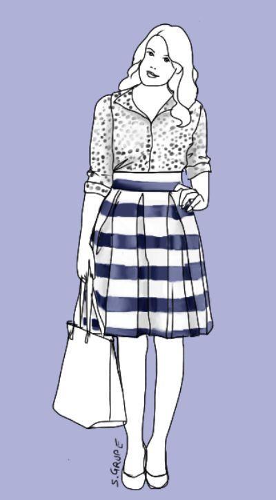 Ein Rock für jeden Figurtyp: Ein breiter Bund und drei Kellerfalten am Bund geben diesen Rock an Taille und Hüfte viel Volumen - gut, um Kurven zu akzentuieren oder zu schaffen. Modeflüsterin - Mode, stil und Wellness für starke Frauen.