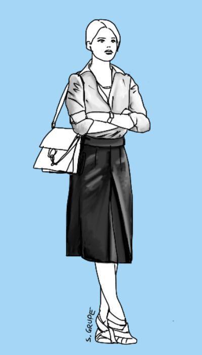 Ein Rock für jeden Figurtyp: Ein gerader Rock mit Kellerfalte vorne erhält eine leichte A-Linien-Form, die schön schlank macht. Taillenhoch und in Midi-Länge verlängert dieser Rock die Hüft-Knie-Zone, verkürzt aber die Knie-Fuß-Zone. Höhere Absätze gleichen dies aus. Modeflüsterin - Mode, Stil und Wellness für starke Frauen.