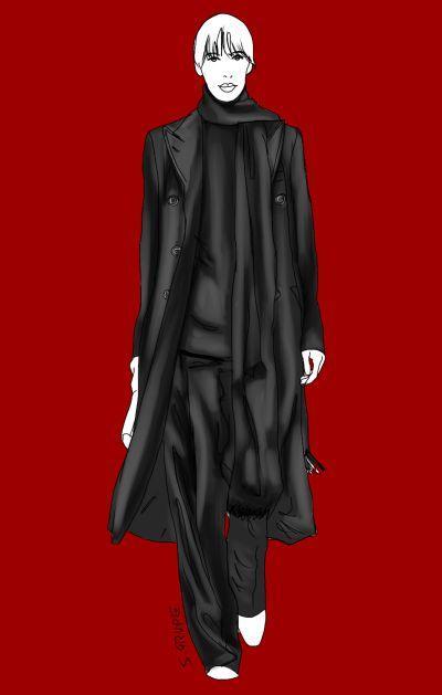 Schwarze Hose, schwarzer Pulli, schwarzer Mantel: pur, lässig und mit einer großen Prise Androgynität.
