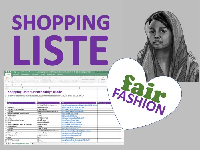 Nachhaltige Mode einkaufen - Die Shopping-Liste für nachhaltige Mode zum Download - Modeflüsterin