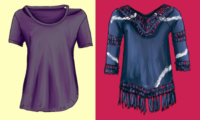 T-Shirts mit Cut-outs und Niten und T-Shirt mit Batik und Fransen passen zu unterschiedlichen Stiltypen - Modeflüsterin