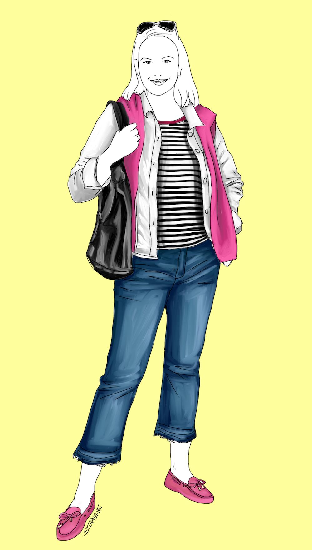 In diesem Outfit werde ich meine Reise antreten: trendy 7/8-Jeans, dazu mein geliebtes Ringel-Shirt, eine weiße Jeansjacke, ein Kaschmir-Pullover in Pink - auch als Schal-Ersatz - und bequeme Slipper. Dazu eine große Tote-Bag, in die alles passt sowie eine schicke Sonnenbrille. Alle Teile des Outfits werde ich auch im Urlaub tragen - nur luftiger kombiniert.