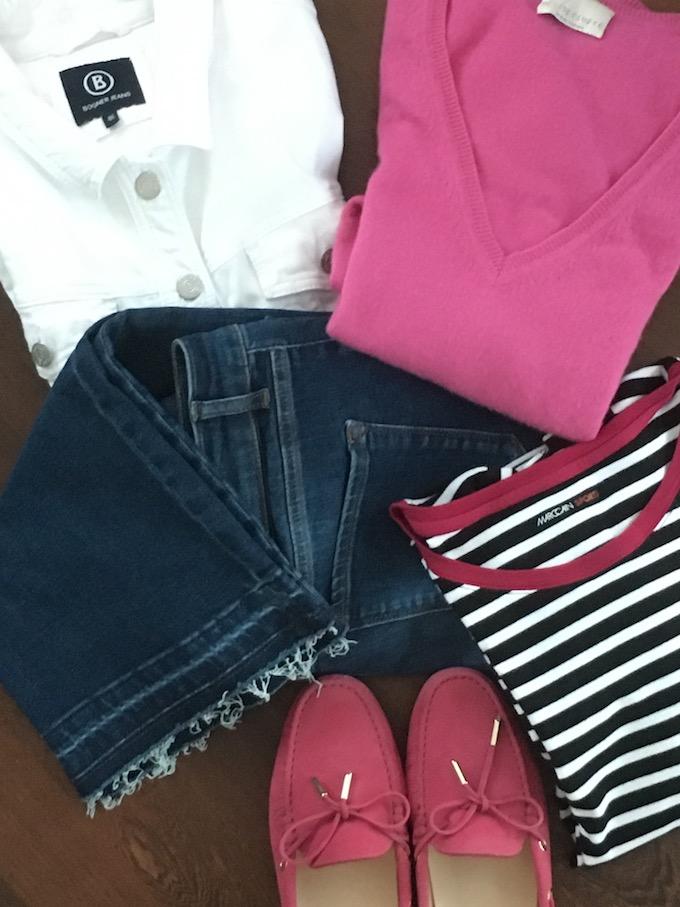 Hier sind noch einmal die Basics für meine Reise-Outfit: Alle Einzelstücke sind von sehr guter Qualität. Alle - mit Ausnahme der 7/8-Jeans - habe ich schon viele Jahre im Schrank. Zusammen ergeben sie einen Easy Chic, der mich bequem zum Zielort bringt.