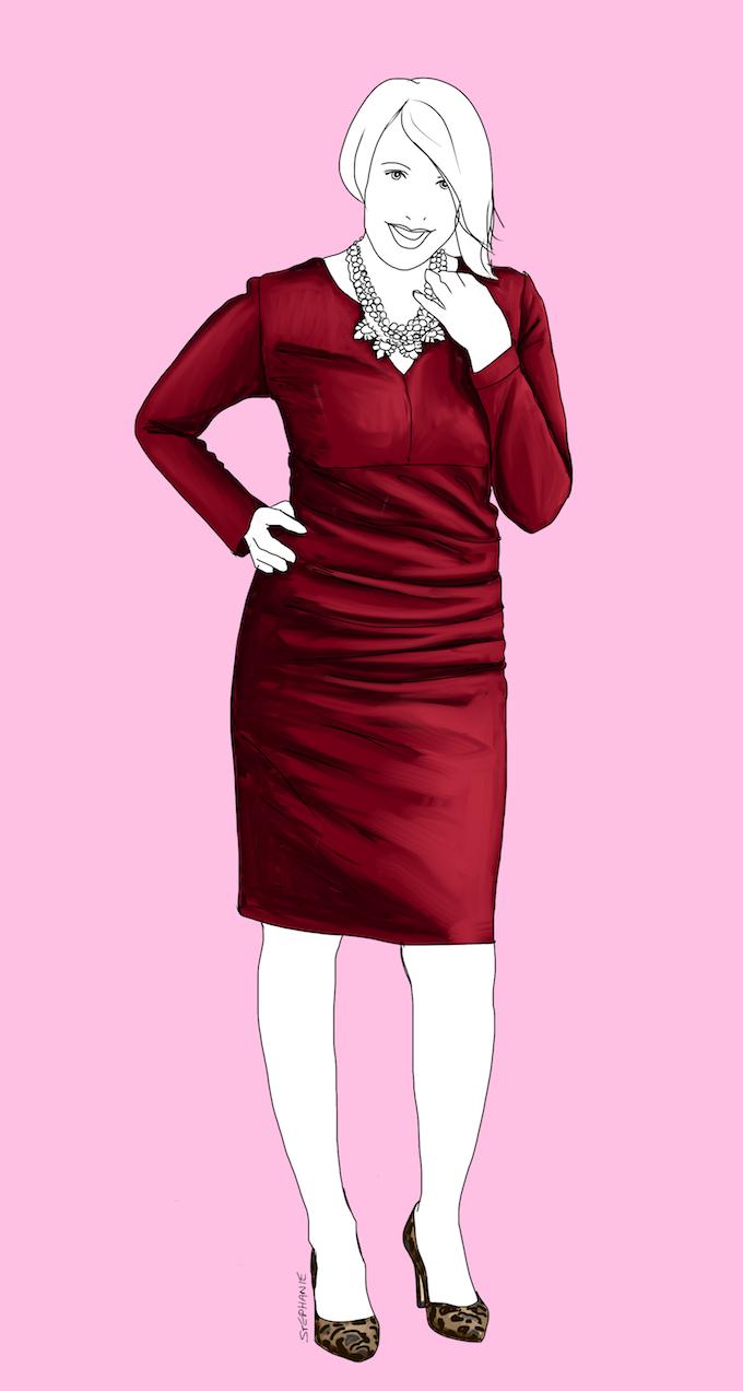 Hier trägt Cla ein Etuikleid in Weinrot. Dieser typische Look für eine X-Figur schmeichelt ihren Kurven und streckt die Figur insgesamt.