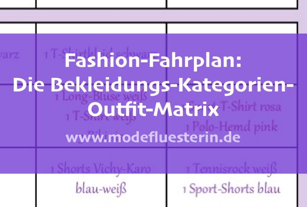 Fashion-Fahrplan: Die Bekleidungs-Kategorien-Outfit-Matrix (Checkliste)
