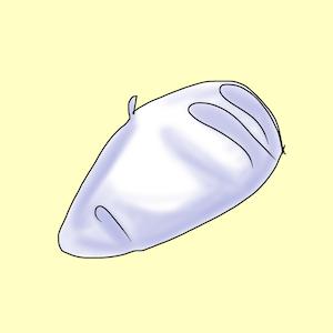 Die Baskenmütze platziert eine runde Form und eine diagonale Linie im Stirnbereich.