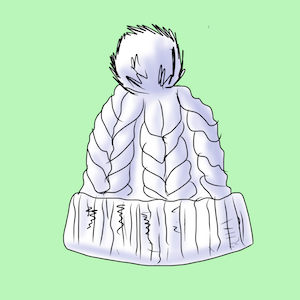 Die Pudelmütze verlängert Stirn und Oberkopf nach oben.