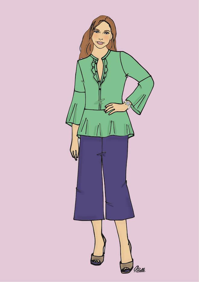 Die Tunika-Bluse hat einen tiefen V-Ausschnitt und ein Schößchen, die Culotte eine leichte A-Silhouette: So bekommt auch eine Frau mit gerader Taille weibliche Kurven. (Illustration: Tatjana Zelle)