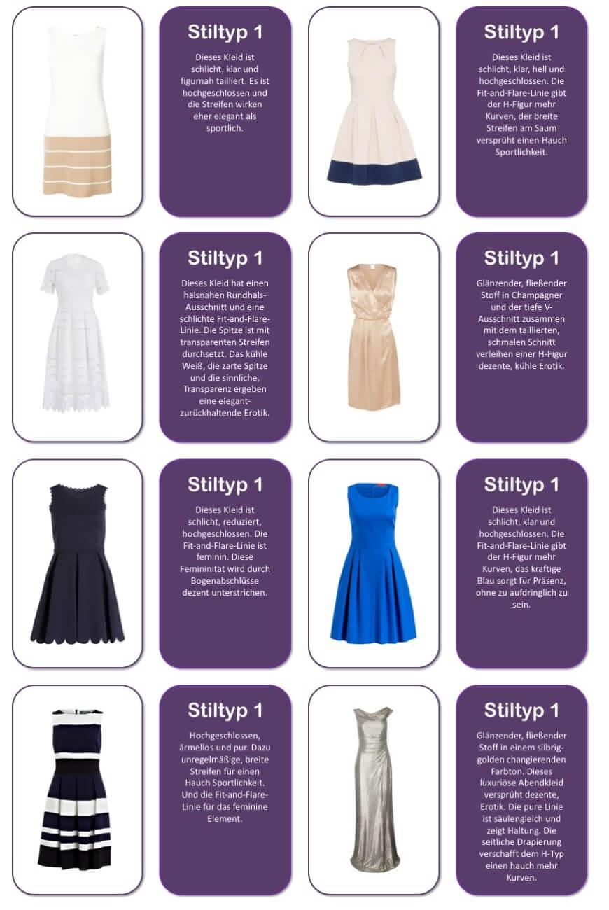 Welches Kleid passt zu welchem Stil? Auflösung für Stiltyp 1