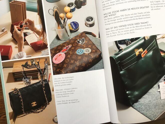 Vier wertvolle Vintage-Stücke auf einer Doppelseite im Buch: das Love-Bracelet von Cartier sowie die berühmten Taschen von Chanel, Louis Vuitton, Hermés und Chanel.