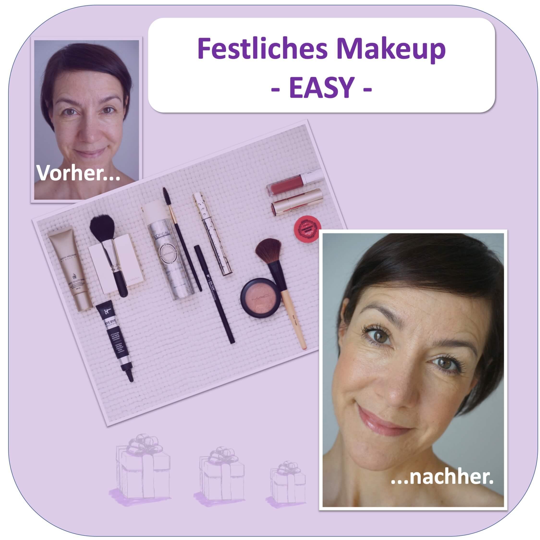 Der Vorher-Nachher-Effekt des ersten Makeup-Tutorials der Schminktante: Es ist mit den gezeigten Tools ganz easy herzustellen.
